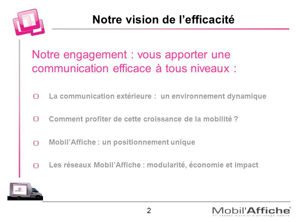 Notre vision de lefficacité Notre engagement : vous apporter une communication efficace à tous niveaux : La communication extérieure : un environnemen