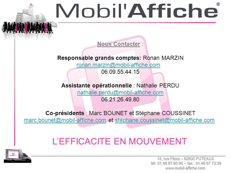 Nous Contacter : Responsable grands comptes: Ronan MARZIN ronan.marzin@mobil-affiche.com 06.09.55.44.15 Assistante opérationnelle : Nathalie PERDU nat
