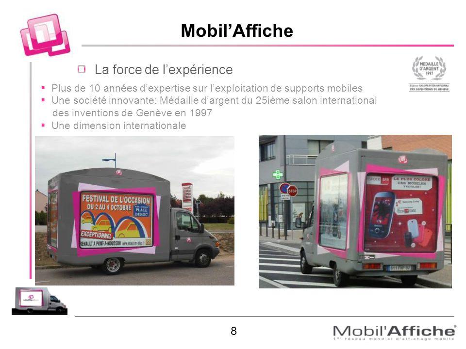 MobilAffiche La force de lexpérience Plus de 10 années dexpertise sur lexploitation de supports mobiles Une société innovante: Médaille dargent du 25i