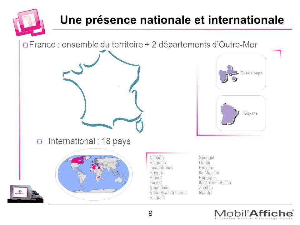 International : 18 pays Guadeloupe Guyane Canada Belgique Luxembourg Egypte Algérie Tunisie Roumanie République tchèque Bulgarie Sénégal Dubaï Emirats