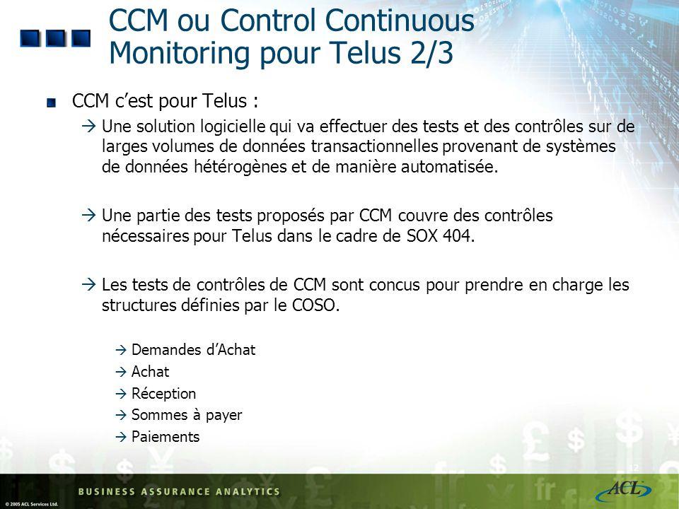 11 CCM ou Control Continuous Monitoring pour Telus 1/3 Pouvoir réaliser lensemble des contrôles chaque année pour être « conforme à la réglementation