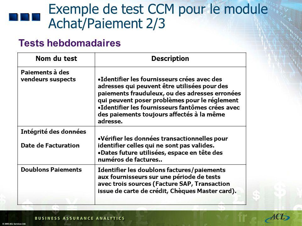 7 Exemple de test CCM pour le module Achat/Paiement 1/3 Test Journalier Nom du testDescription Paiement en double Identifier les doublons factures/pai