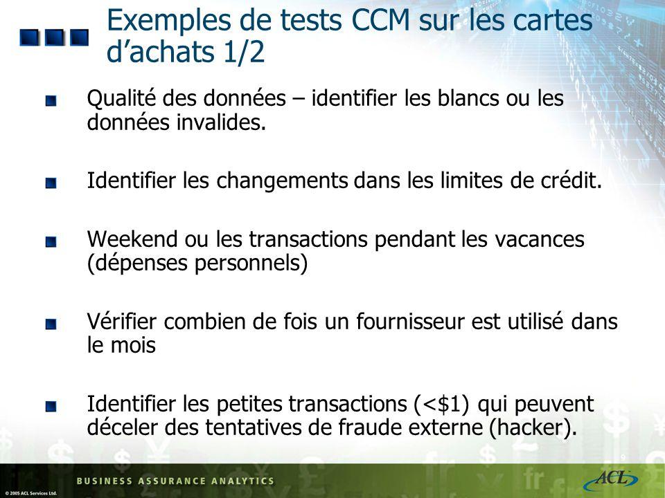 8 Exemple de test CCM pour le module Achat/Paiement 2/3 Tests hebdomadaires Nom du testDescription Paiements à des vendeurs suspects Identifier les fo