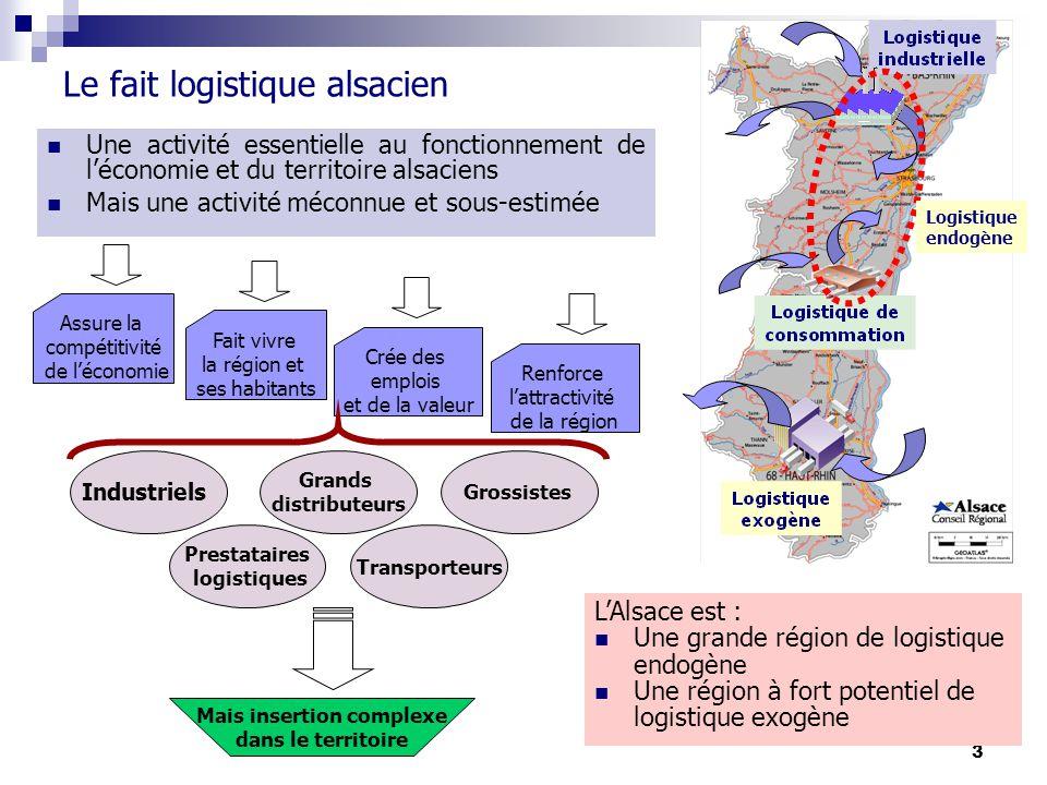 3 Le fait logistique alsacien Une activité essentielle au fonctionnement de léconomie et du territoire alsaciens Mais une activité méconnue et sous-es