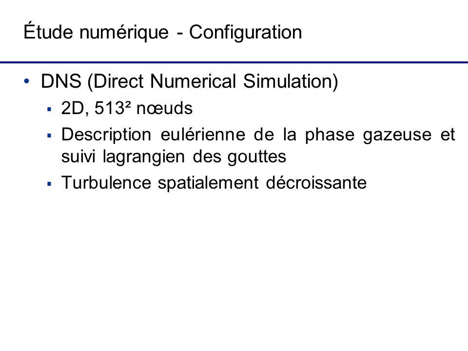 Étude numérique - Configuration DNS (Direct Numerical Simulation) 2D, 513² nœuds Description eulérienne de la phase gazeuse et suivi lagrangien des gouttes Turbulence spatialement décroissante