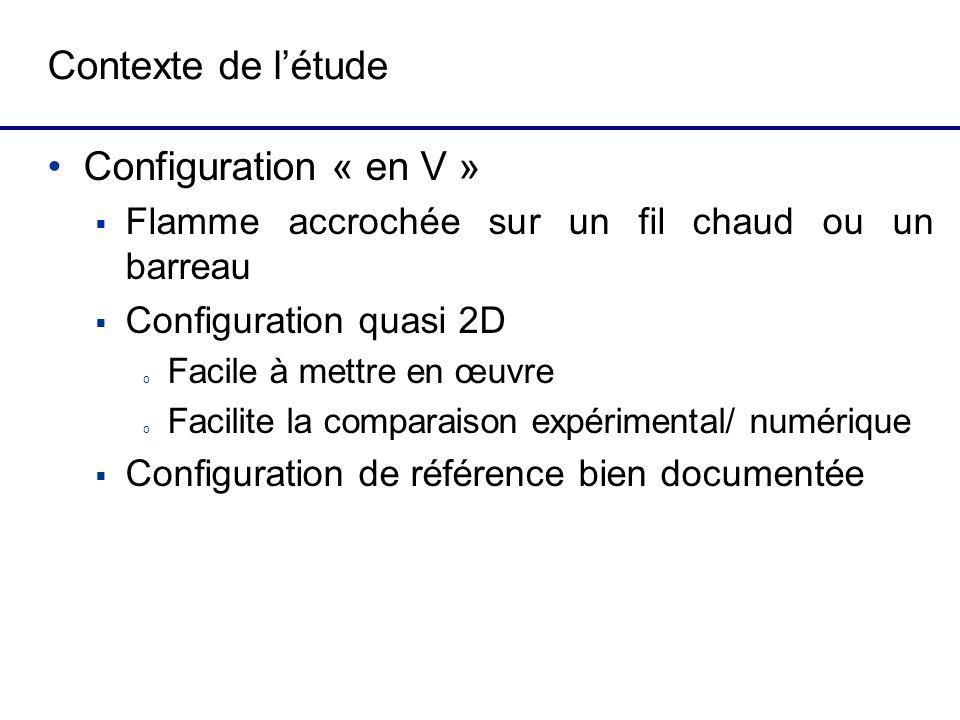 Contexte de létude Configuration « en V » Flamme accrochée sur un fil chaud ou un barreau Configuration quasi 2D o Facile à mettre en œuvre o Facilite la comparaison expérimental/ numérique Configuration de référence bien documentée