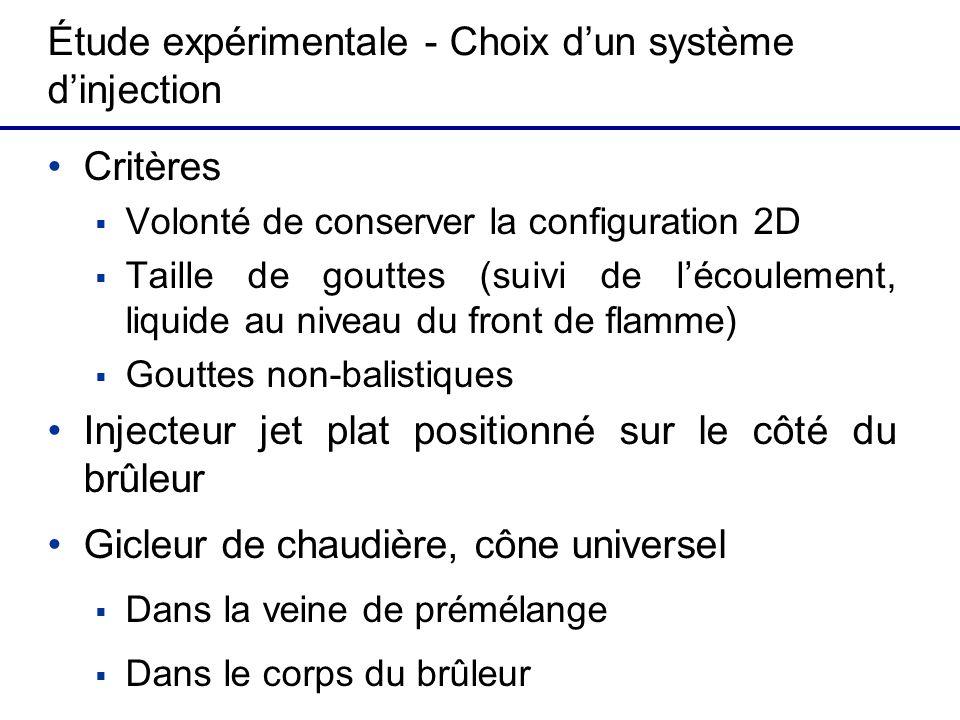 Étude expérimentale - Choix dun système dinjection Critères Volonté de conserver la configuration 2D Taille de gouttes (suivi de lécoulement, liquide
