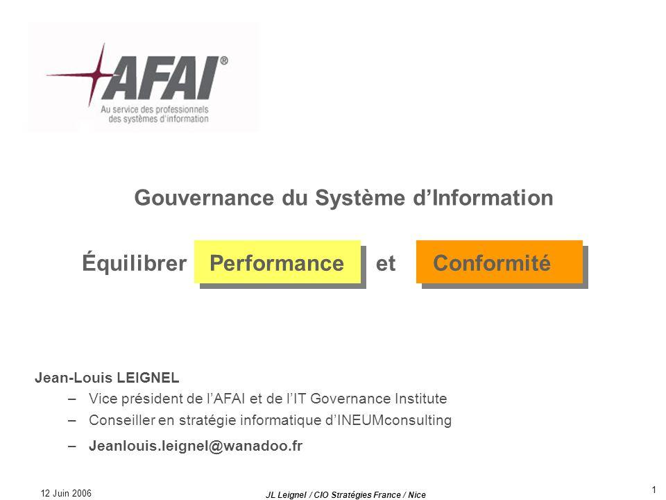 12 Juin 2006 JL Leignel / CIO Stratégies France / Nice 1 Gouvernance du Système dInformation Équilibrer Performance et Conformité Jean-Louis LEIGNEL –