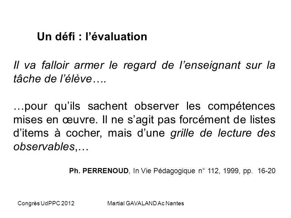 Congrès UdPPC 2012Martial GAVALAND Ac Nantes Un défi : lévaluation Il faut créer une tâche complexe et voir si les gens arrivent à se la représenter,