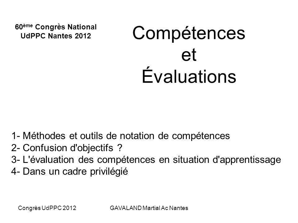 Congrès UdPPC 2012Martial GAVALAND Ac Nantes Évaluer des compétences Lévaluateur a besoin dobserver lélève au travail de près, durant un bon moment, d