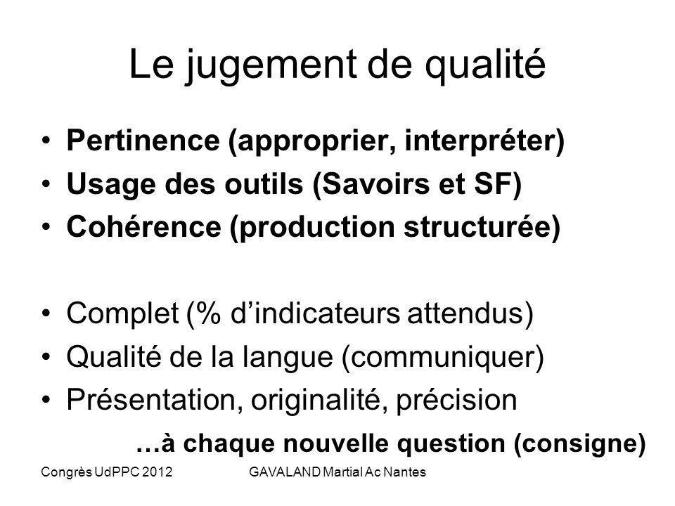 Congrès UdPPC 2012GAVALAND Martial Ac Nantes Les niveaux de maîtrise Niveau de maîtrise Maîtrise des critères A ¾ des indicateurs atteints et présents