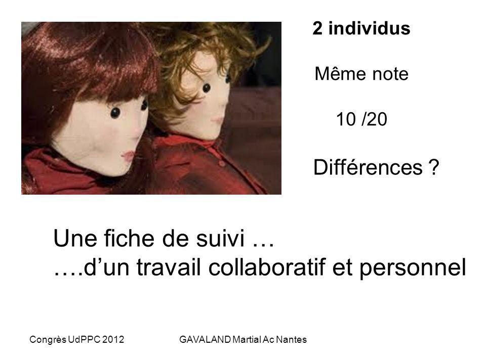 Congrès UdPPC 2012GAVALAND Martial Ac Nantes Elève B, même compétence, même note ? Et pour Pronote : …….encore……10/20 (validation) ? 2 contextes diffé