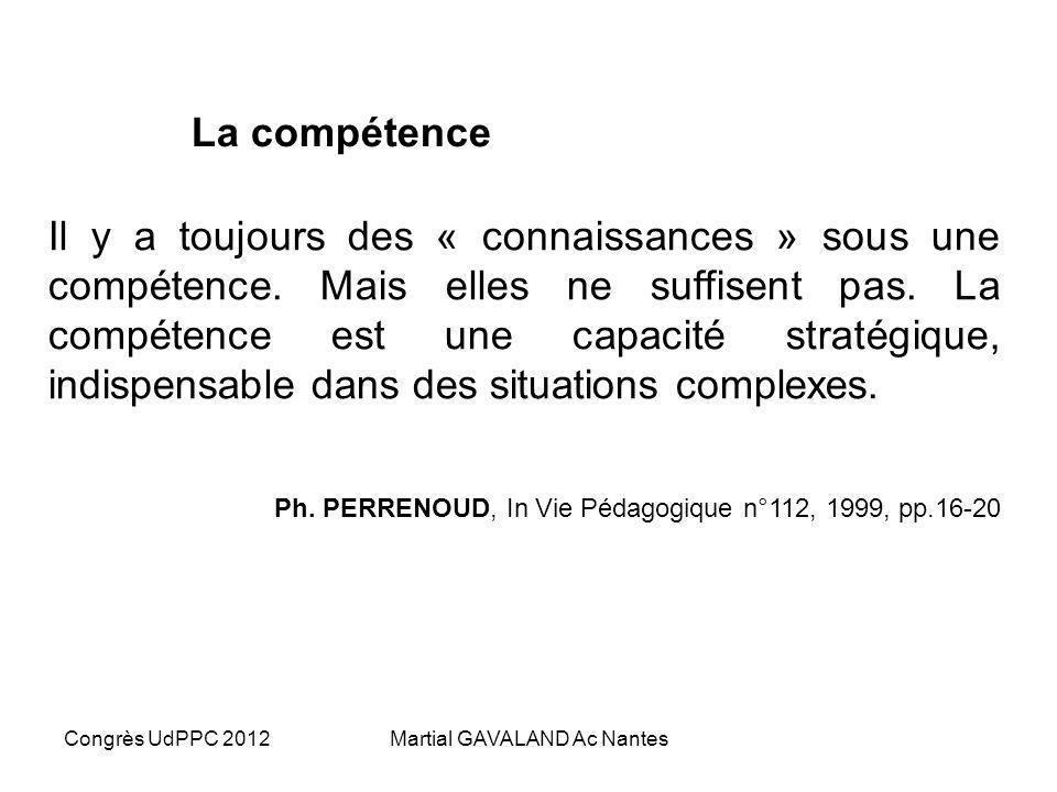 Congrès UdPPC 2012Martial GAVALAND Ac Nantes La compétence Il y a toujours des « connaissances » sous une compétence.