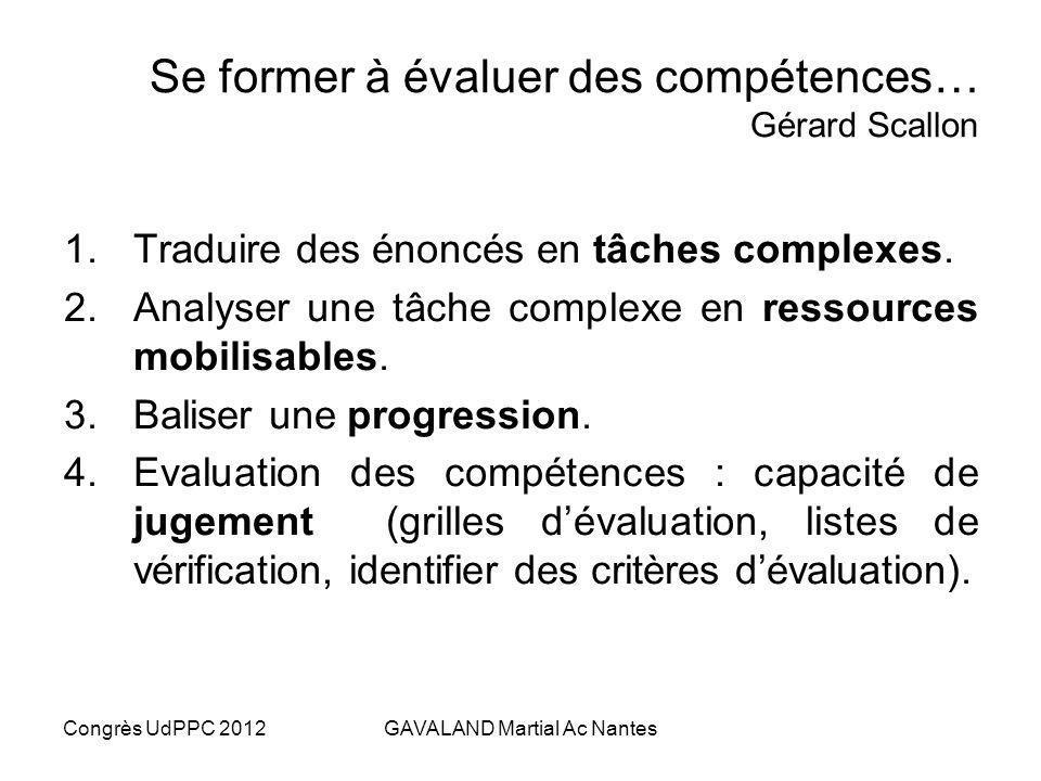 Congrès UdPPC 2012GAVALAND Martial Ac Nantes Lévaluation nest pas contrôle In Evaluation formative p. 49, Laurent TALBOT, Ed.COLIN 2009 ContrôleÉvalua