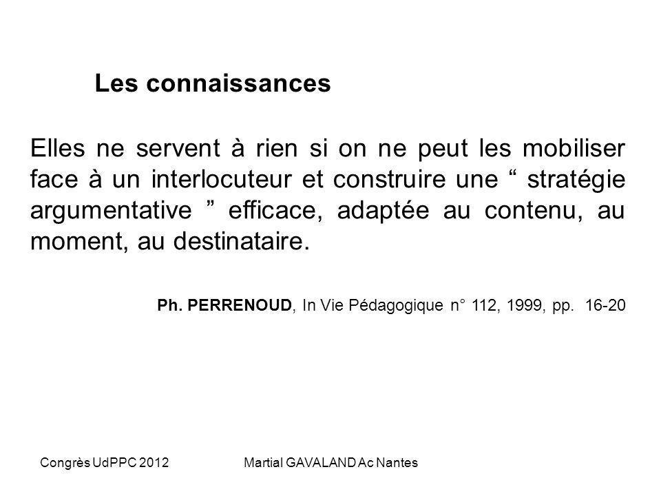 Congrès UdPPC 2012Martial GAVALAND Ac Nantes Les connaissances Elles ne servent à rien si on ne peut les mobiliser face à un interlocuteur et construire une stratégie argumentative efficace, adaptée au contenu, au moment, au destinataire.
