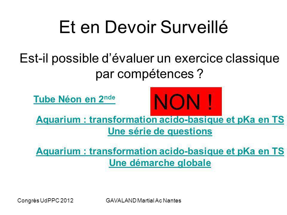 Congrès UdPPC 2012GAVALAND Martial Ac Nantes La complexité de lévaluation ambiante Quelle durée ? Nombre de phases dapprentissages Cerner les ressourc