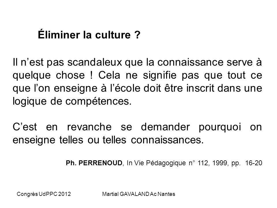 Congrès UdPPC 2012Martial GAVALAND Ac Nantes Le travail des compétences Travailler par compétences demande du temps. Il faut donc opérer des choix, à
