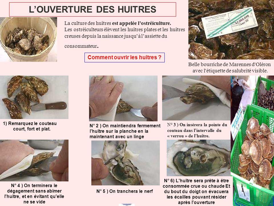 LOUVERTURE DES HUITRES Comment ouvrir les huîtres ? Belle bourriche de Marennes d'Oléron avec l'étiquette de salubrité visible. La culture des huîtres