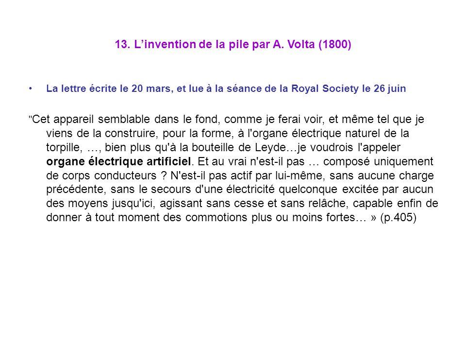 13. Linvention de la pile par A. Volta (1800) La lettre écrite le 20 mars, et lue à la séance de la Royal Society le 26 juin