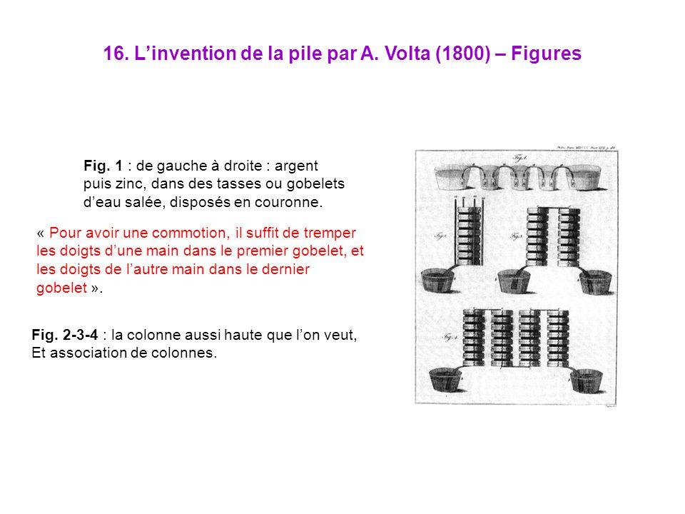 16. Linvention de la pile par A. Volta (1800) – Figures « Pour avoir une commotion, il suffit de tremper les doigts dune main dans le premier gobelet,