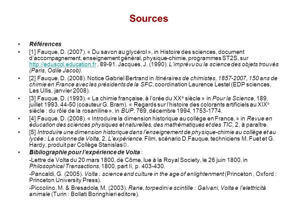 Sources Références [1] Fauque, D. (2007). « Du savon au glycérol », in Histoire des sciences, document daccompagnement, enseignement général, physique