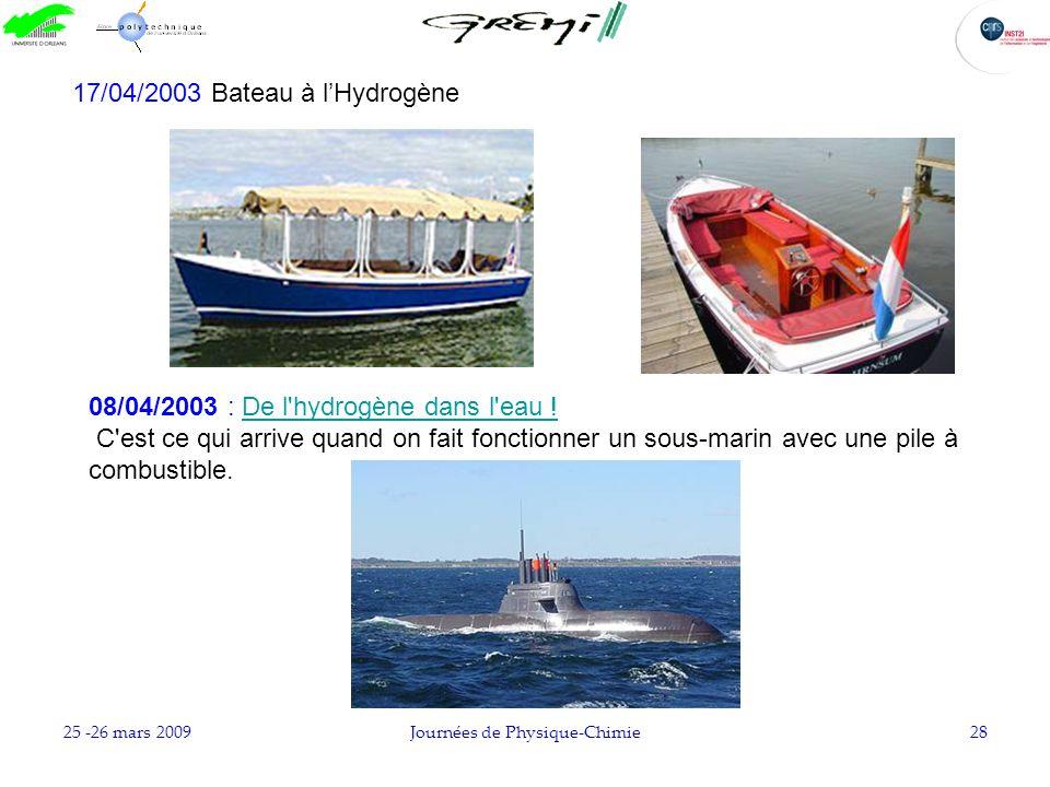 25 -26 mars 2009Journées de Physique-Chimie28 17/04/2003 Bateau à lHydrogène 08/04/2003 : De l'hydrogène dans l'eau !De l'hydrogène dans l'eau ! C'est