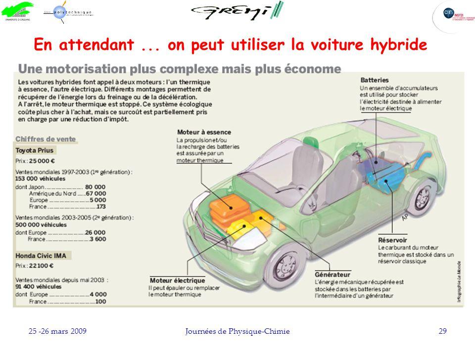 25 -26 mars 2009Journées de Physique-Chimie29 En attendant... on peut utiliser la voiture hybride
