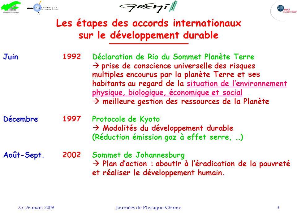 25 -26 mars 2009Journées de Physique-Chimie3 Les étapes des accords internationaux sur le développement durable Juin 1992 Déclaration de Rio du Sommet
