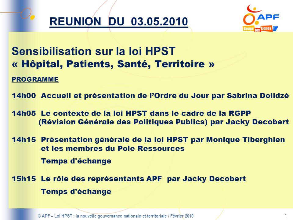 © APF – Loi HPST : la nouvelle gouvernance nationale et territoriale / Février 2010 2 PROGRAMME (Suite) 16h00 Pause 16h15 Représentation : je suis adhérent, élu du CD ou du CAPFR, je vais où je fais quoi .