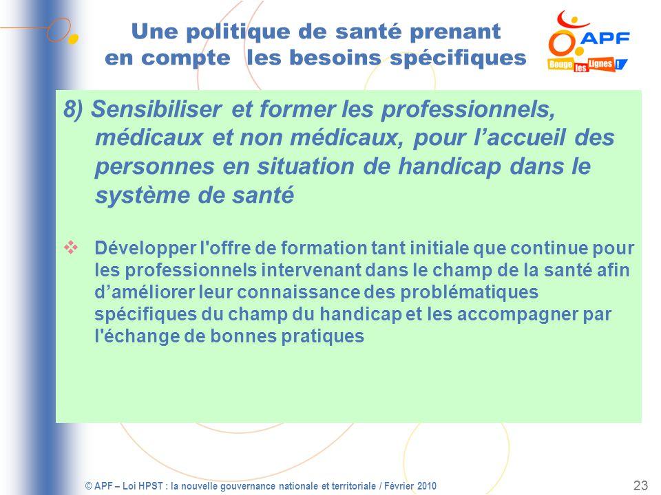 © APF – Loi HPST : la nouvelle gouvernance nationale et territoriale / Février 2010 24 Les 10 points dattention des acteurs APF Le libre choix et laccès à la prévention et aux soins pour tous .
