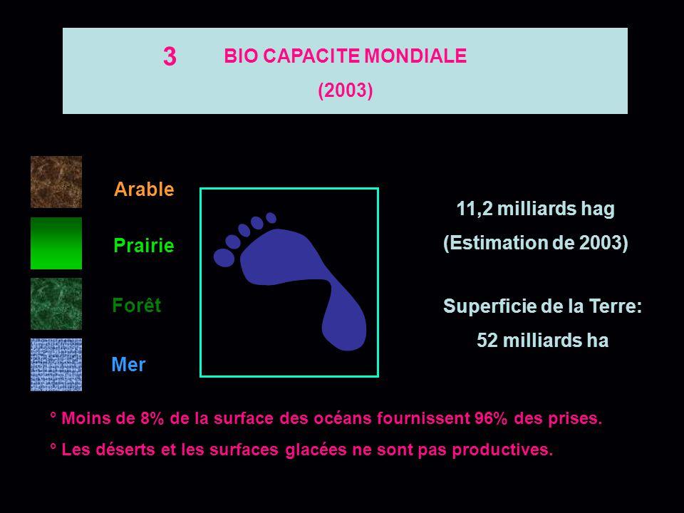Arable Prairie Forêt Mer Recensement des surfaces biologiques disponibles (2003) 2 1,8 milliards ha 3,8 milliards ha 2,3 milliards ha 3,5 milliards ha