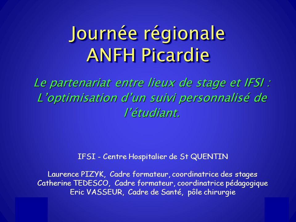 13/12/20111 Journée régionale ANFH Picardie Le partenariat entre lieux de stage et IFSI : Loptimisation dun suivi personnalisé de létudiant.