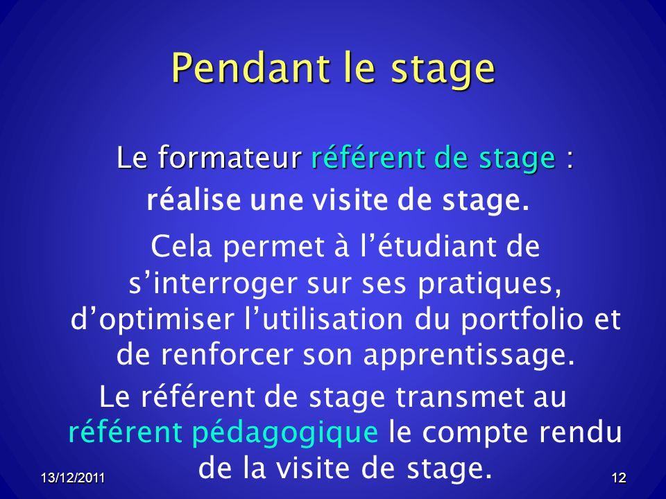 13/12/201112 Pendant le stage Le formateur référent de stage : réalise une visite de stage.