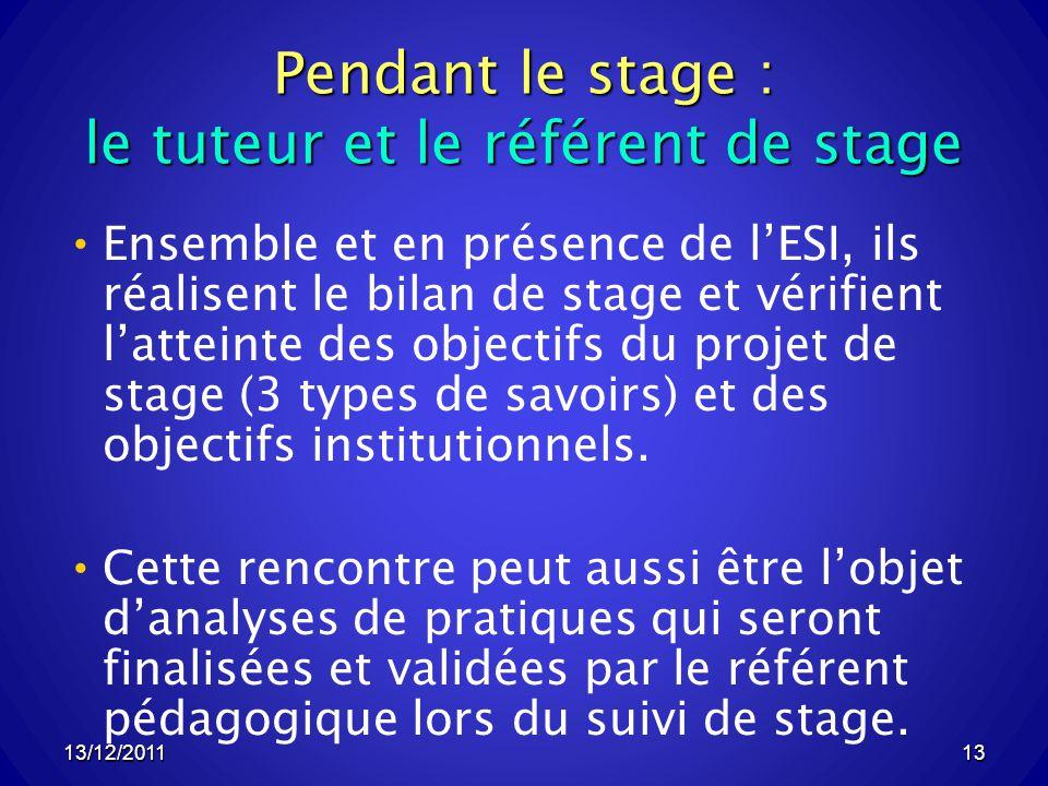 13/12/201113 Pendant le stage : le tuteur et le référent de stage Ensemble et en présence de lESI, ils réalisent le bilan de stage et vérifient latteinte des objectifs du projet de stage (3 types de savoirs) et des objectifs institutionnels.