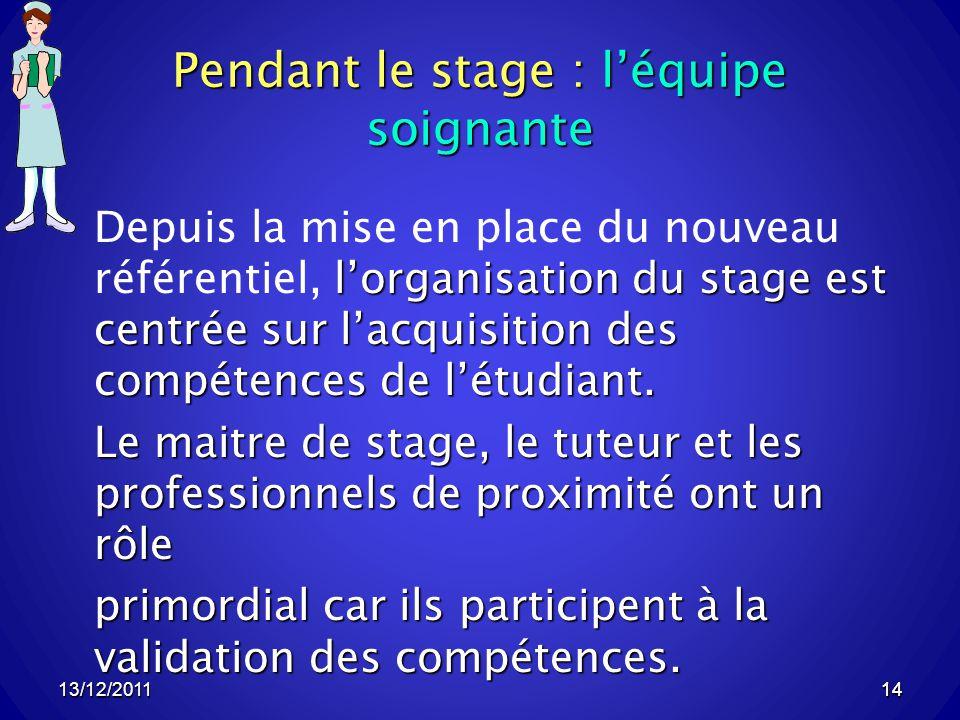 13/12/201114 Pendant le stage : léquipe soignante lorganisation du stage est centrée sur lacquisition des compétences de létudiant.