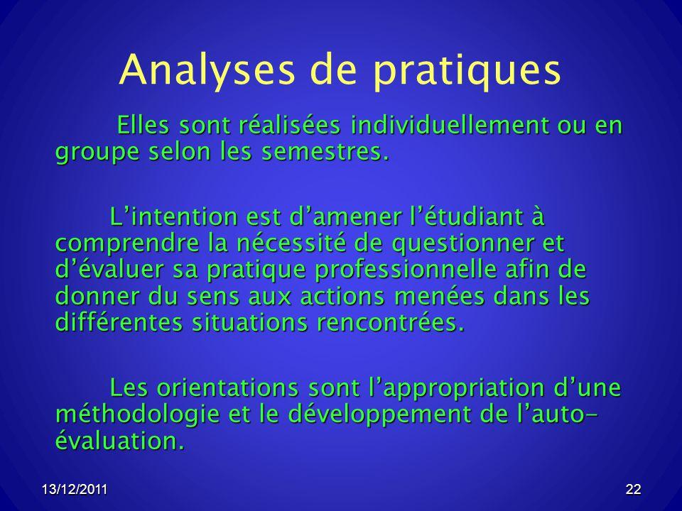 13/12/201122 Analyses de pratiques Elles sont réalisées individuellement ou en groupe selon les semestres.