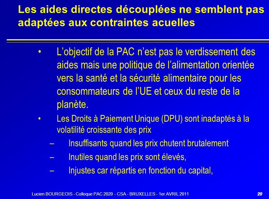 Lucien BOURGEOIS - Colloque PAC 2020 - CSA - BRUXELLES - 1er AVRIL 201120 Les aides directes découplées ne semblent pas adaptées aux contraintes acuel
