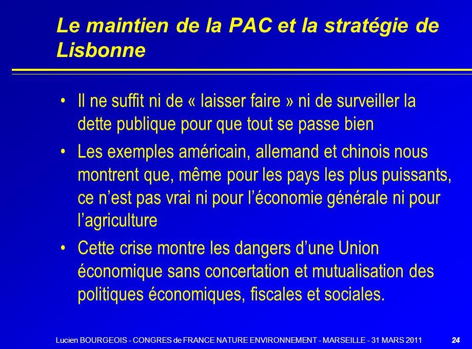 Le maintien de la PAC et la stratégie de Lisbonne Il ne suffit ni de « laisser faire » ni de surveiller la dette publique pour que tout se passe bien