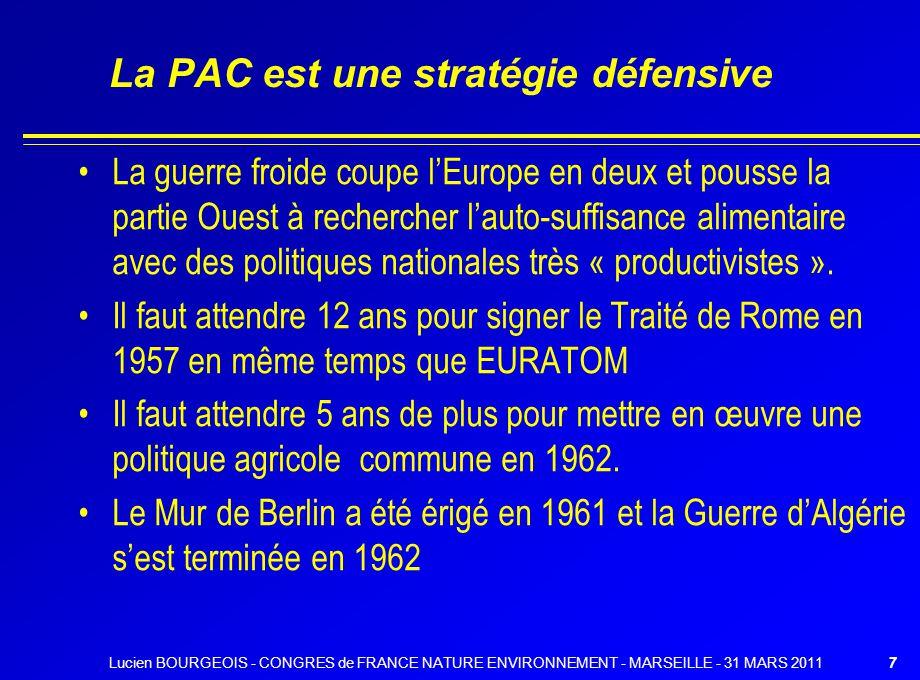 La PAC est une stratégie défensive La guerre froide coupe lEurope en deux et pousse la partie Ouest à rechercher lauto-suffisance alimentaire avec des politiques nationales très « productivistes ».