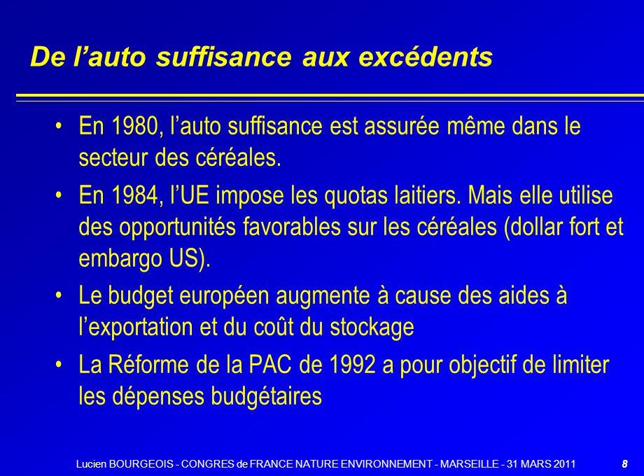 De lauto suffisance aux excédents En 1980, lauto suffisance est assurée même dans le secteur des céréales. En 1984, lUE impose les quotas laitiers. Ma
