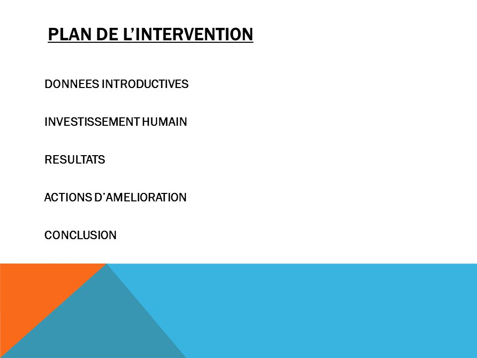 PLAN DE LINTERVENTION DONNEES INTRODUCTIVES INVESTISSEMENT HUMAIN RESULTATS ACTIONS DAMELIORATION CONCLUSION