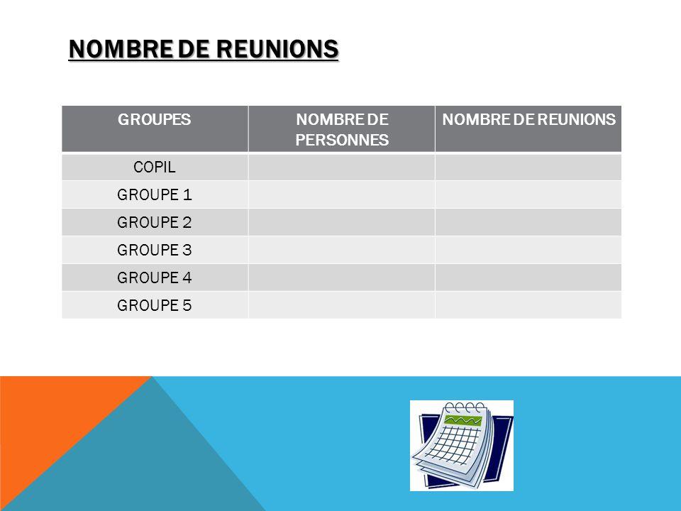 NOMBRE DE REUNIONS GROUPESNOMBRE DE PERSONNES NOMBRE DE REUNIONS COPIL GROUPE 1 GROUPE 2 GROUPE 3 GROUPE 4 GROUPE 5