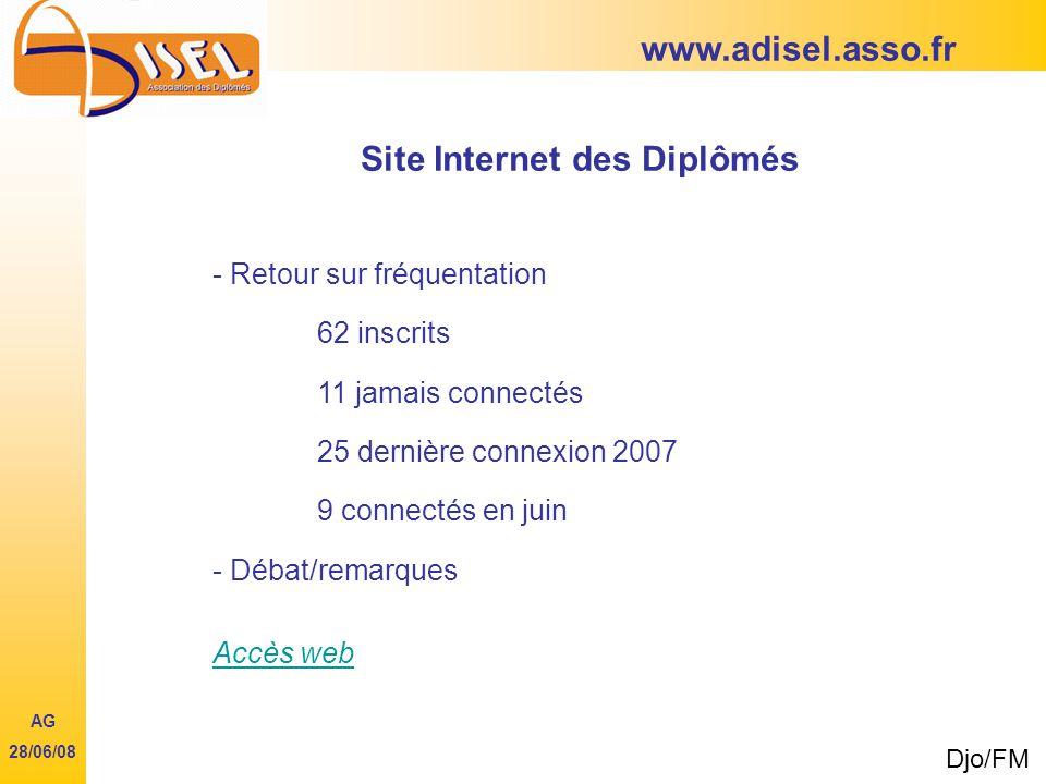 www.adisel.asso.fr Site Internet des Diplômés - Retour sur fréquentation 62 inscrits 11 jamais connectés 25 dernière connexion 2007 9 connectés en juin - Débat/remarques Accès web Djo/FM AG 28/06/08