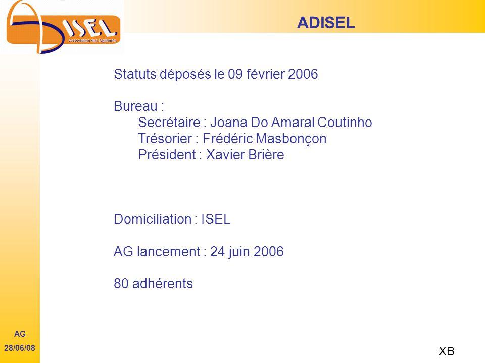 Statuts déposés le 09 février 2006 Bureau : Secrétaire : Joana Do Amaral Coutinho Trésorier : Frédéric Masbonçon Président : Xavier Brière Domiciliation : ISEL AG lancement : 24 juin 2006 80 adhérents ADISEL XB AG 28/06/08
