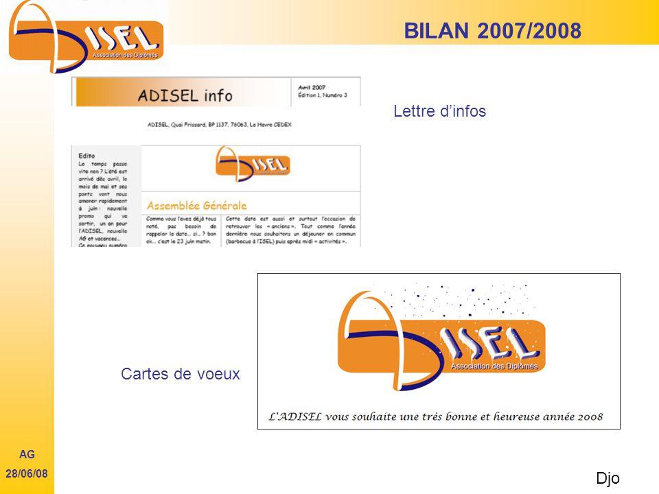 BILAN 2007/2008 Lettre dinfos Djo AG 28/06/08 Cartes de voeux