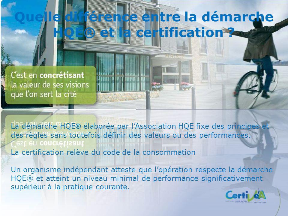 Quelle différence entre la démarche HQE® et la certification ? La démarche HQE ® élaborée par lAssociation HQE fixe des principes et des règles sans t