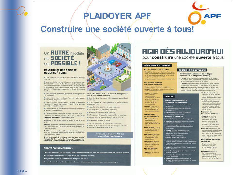 © APF – PLAIDOYER APF Construire une société ouverte à tous!