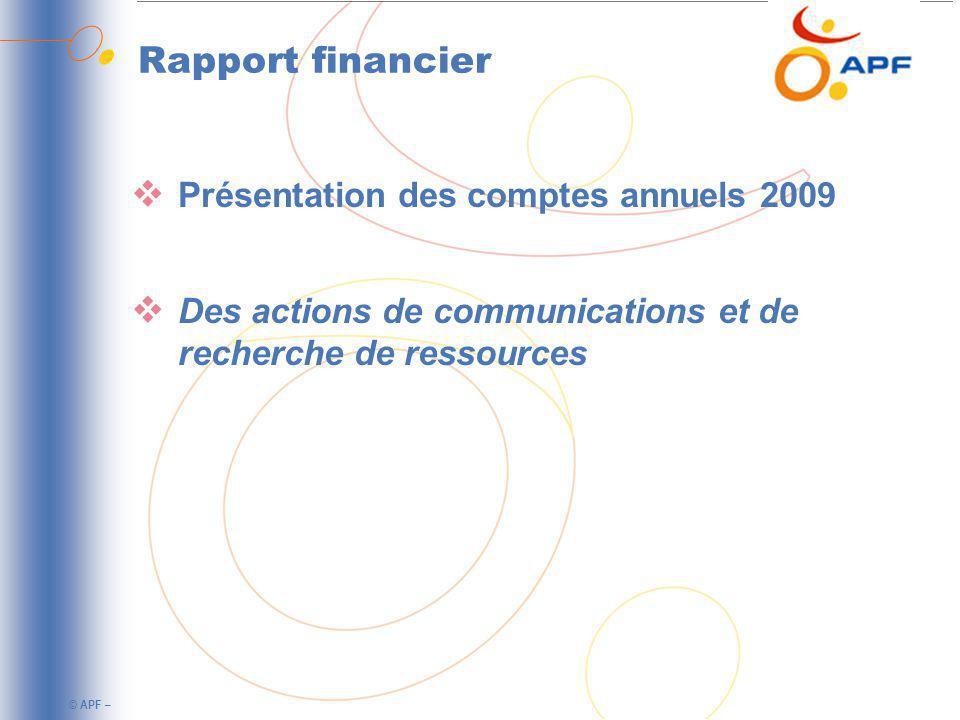 © APF – Rapport financier Présentation des comptes annuels 2009 Des actions de communications et de recherche de ressources
