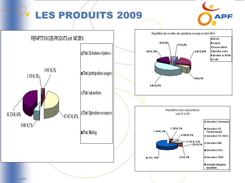 © APF – LES CHARGES 2009 La délégation départementale présente un résultat déficitaire de 5858