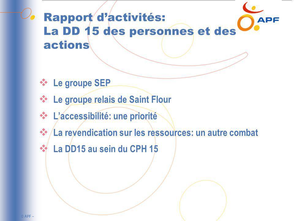 © APF – Rapport dactivités: La DD 15 des personnes et des actions Le groupe SEP Le groupe relais de Saint Flour Laccessibilité: une priorité La revendication sur les ressources: un autre combat La DD15 au sein du CPH 15